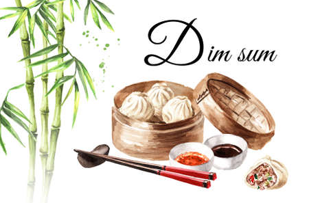 Bamboo steamer, traditional chinese dumplings Dim sum with sauce and green bamboo stems card. Hand drawn watercolor illustration, isolated on white background