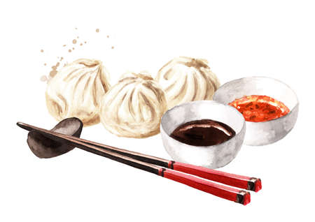 Traditional chinese dumplings Dim sum with sauce and chopsticks. Hand drawn watercolor illustration, isolated on white background