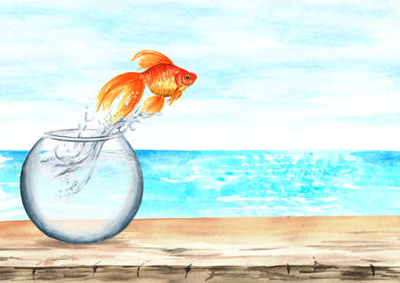 Goldfish. Gold fish jump out of a round glass aquarium into the sea. Concept of improving conditions and gaining freedom. Watercolor hand drawn illustration isolated on white background