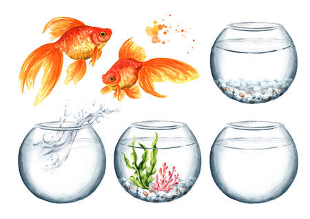 Goldfish and glass bowl set. Watercolor hand drawn illustration isolated on white background