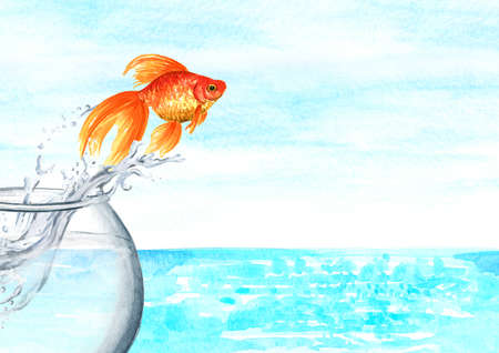 Goldfish. Gold fish jump out of a round glass bowl into the sea. Concept of improving conditions and gaining freedom. Watercolor hand drawn illustration with copy space Zdjęcie Seryjne