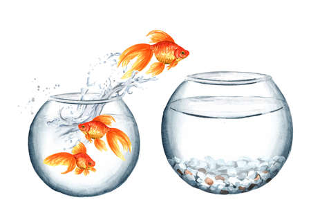 Goldfish. Gold fish jumping out of the small round glass aquarium in the big one. The concept of improvement of living conditions. Watercolor hand drawn illustration isolated on white background Zdjęcie Seryjne