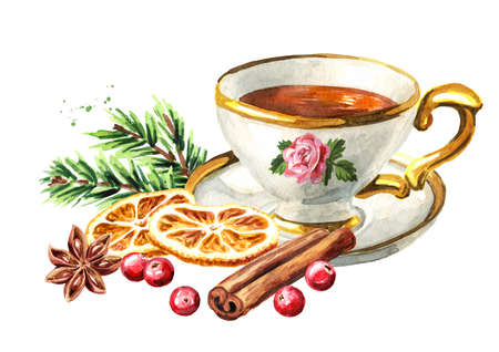 Cup of tea with spices, Christmas fragrance. Hand drawn watercolor illustration isolated on white background Reklamní fotografie