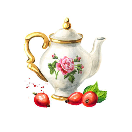 Teapot and Rosehip. Hand drawn watercolor illustration isolated on white background Reklamní fotografie
