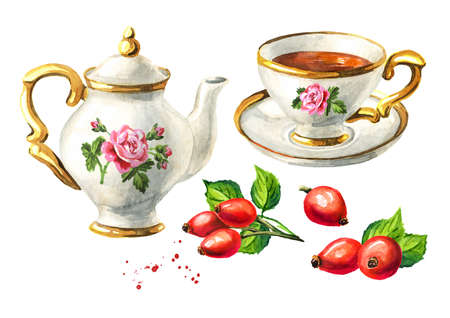Teapot, cup of tea and Rosehip set. Hand drawn watercolor illustration isolated on white background Reklamní fotografie