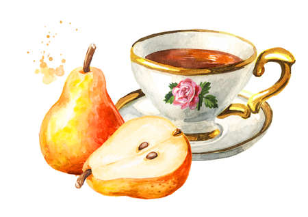 Cup of tea with pear. Hand drawn watercolor illustration isolated on white background