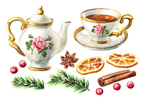 Teapot, cup of tea and spices, Christmas fragrance set. Hand drawn watercolor illustration isolated on white background