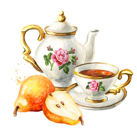 Teapot, cup of tea and pear. Hand drawn watercolor illustration isolated on white background Reklamní fotografie