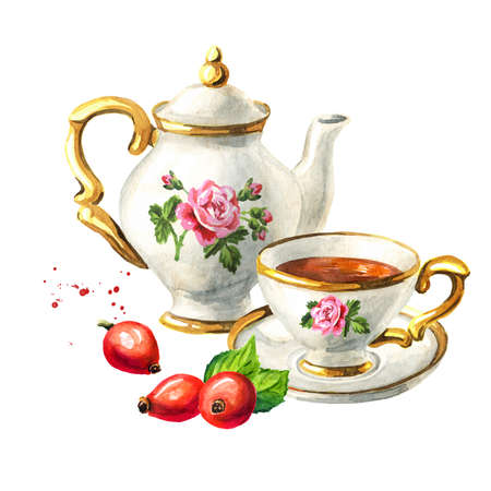 Teapot, cup of tea and Rosehip. Hand drawn watercolor illustration isolated on white background Reklamní fotografie