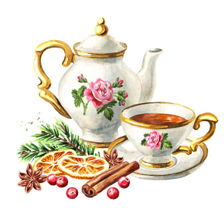 Teapot, cup of tea and spices, Christmas fragrance. Hand drawn watercolor illustration isolated on white background Reklamní fotografie