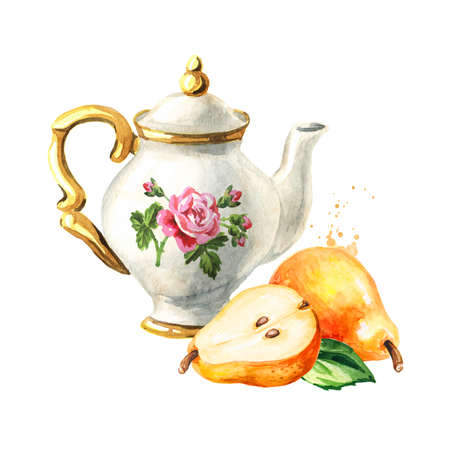 Teapot and pear. Hand drawn watercolor illustration isolated on white background Reklamní fotografie