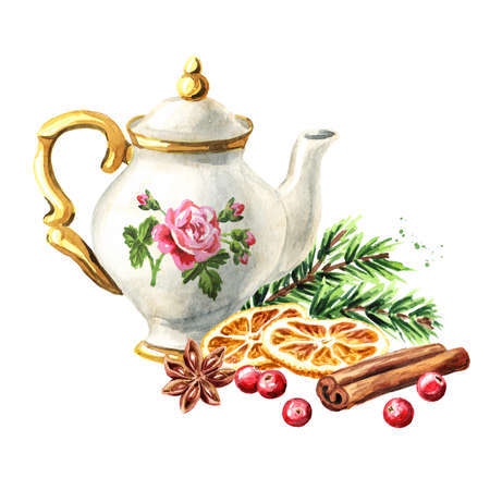Teapot and spices, Christmas fragrance. Hand drawn watercolor illustration isolated on white background Reklamní fotografie
