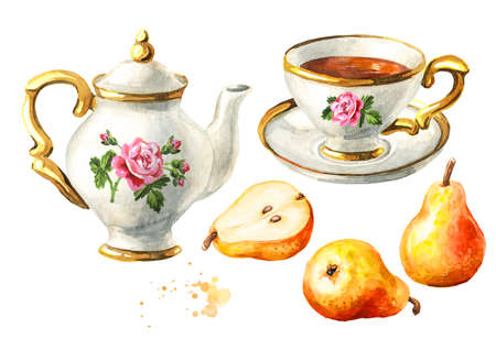Teapot, cup of tea and pear set. Hand drawn watercolor illustration isolated on white background