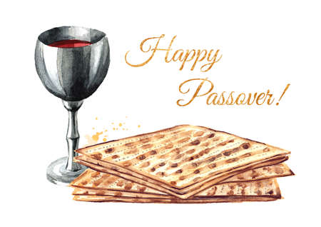 Red kosher wine in the silver glass with matzah or matza. Passover seder meal. Pesach. Watercolor hand drawn illustration isolated on white background