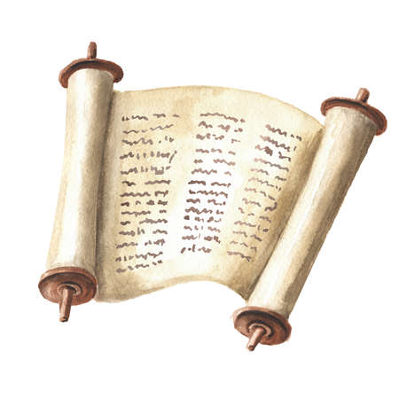 Open Torah scroll with the text of the Bible, the Pentateuch of Moses, the totality of the Jewish traditional religious law. Hand drawn watercolor illustration, isolated on white background