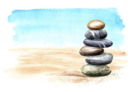 Colorful sea pebbles stones tower on the sand on the background of the sea with copy space. Hand drawn watercolor illustration isolated on white background