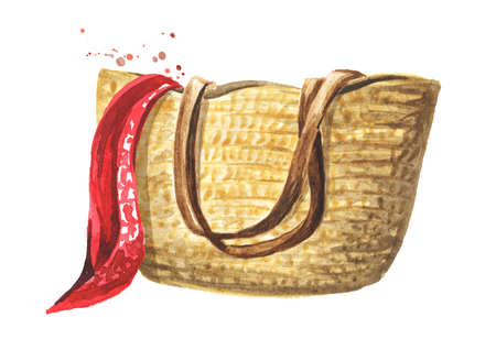 Wicker beach bag with red scarf. Hand drawn watercolor illustration isolated on white background