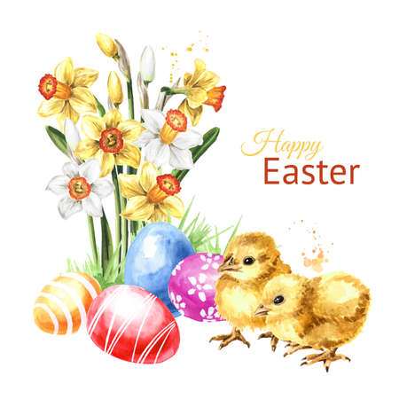 Colored Easter eggs in the green grass, spring flowers and yellow chicks. Hand drawn watercolor illustration isolated on white background