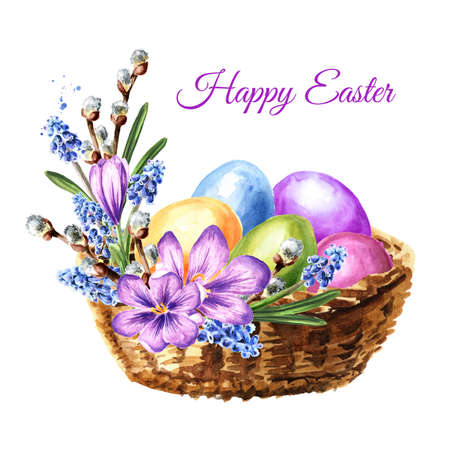 Happy Easter card. Basket with spring flowers and colored eggs. Hand drawn watercolor illustration, isolated on white background