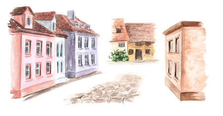 Elements of the rural street of Saint. At home, a stone path. Hand drawn watercolor illustration isolated on white background Banque d'images