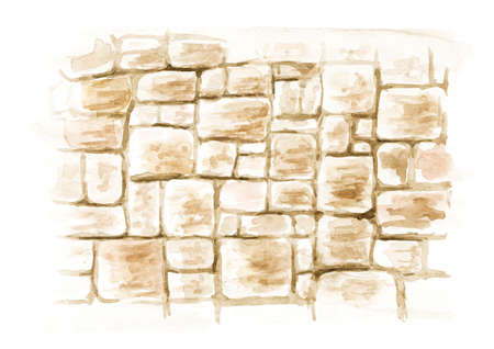 Stone grunge wall. Hand drawn watercolor illustration isolated on white background