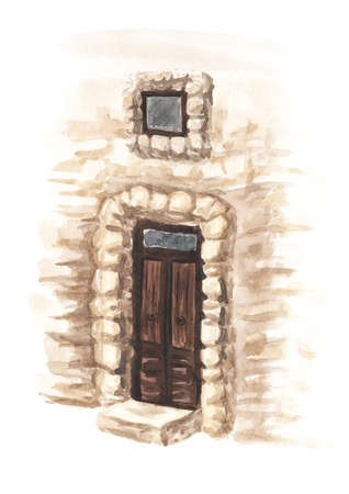 Wooden door in an old stone wall. Hand drawn watercolor illustration isolated on white background Banque d'images - 164548456