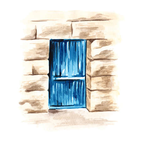 Wooden blue door in an old stone wall. Hand drawn watercolor illustration isolated on white background