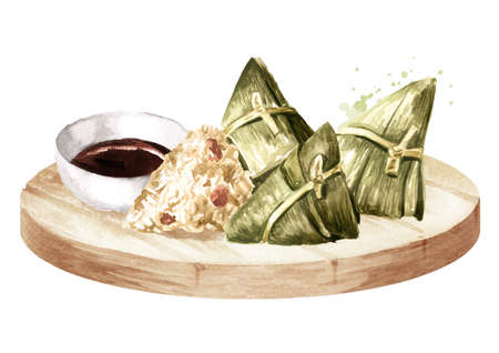 Rice dumpling or Zongzi wrapping in bamboo leaves with sauce on the platter, Chinese Boat dragon festival. Hand drawn watercolor illustration, isolated on white background Foto de archivo