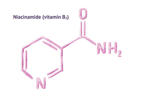 Niacinamide molecule formula, vitamin B3. Watercolor hand drawn illustration, isolated on white background