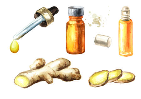 Ginger and essential oil set. Watercolor hand drawn illustration, isolated on white background