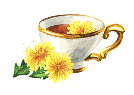 Cup of healthy herbal dandelion tea, Watercolor hand drawn illustration, isolated on white background