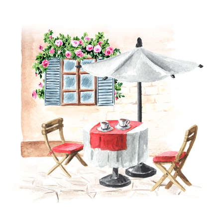 Summer cafe. Table, umbrella and chairs near the house with window, Watercolor hand drawn illustration, isolated on white background