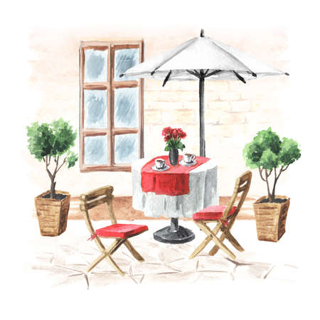 Summer cafe. Table, umbrella and chairs near the house with window, Watercolor hand drawn illustration isolated on white background Banque d'images