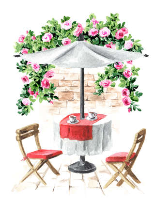 Summer cafe. Table, umbrella and chairs near the rose bush, Watercolor hand drawn illustration, isolated on white background Banque d'images