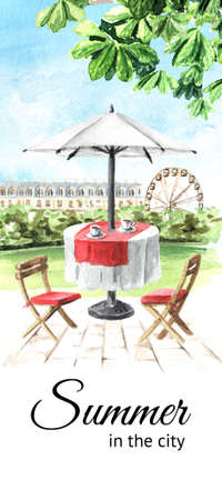 Summer street cafe in the city card. Watercolor hand drawn illustration, isolated on white background