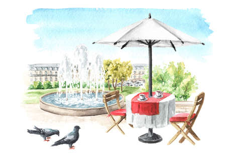 Summer street cafe near the fountain in the city park. Watercolor hand drawn illustration, isolated on white background
