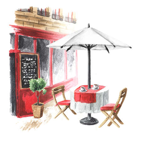 Summer street cafe in the city. Watercolor hand drawn illustration, isolated on white background Banque d'images