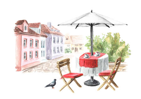 Summer street cafe in the small town, Watercolor hand drawn illustration, isolated on white background