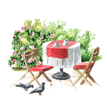 Summer cafe. Table and chairs near the rose bush. Watercolor hand drawn illustration, isolated on white background