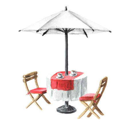 Summer cafe. Table, umbrelle and chairs. Watercolor hand drawn illustration, isolated on white background