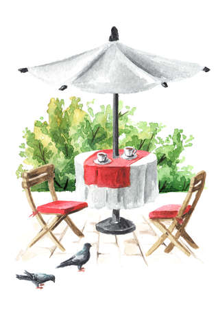 Summer cafe. Table and chairs. Watercolor hand drawn illustration, isolated on white background