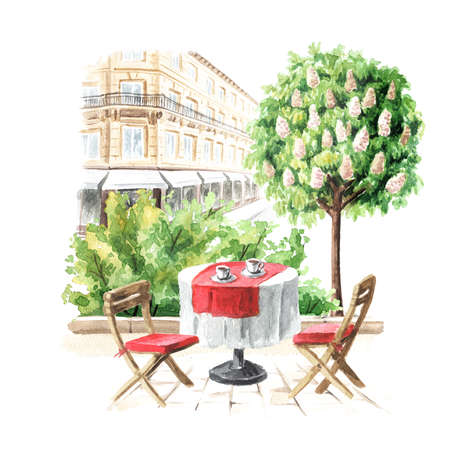 Summer street cafe in the city, Watercolor hand drawn illustration, isolated on white background Banque d'images