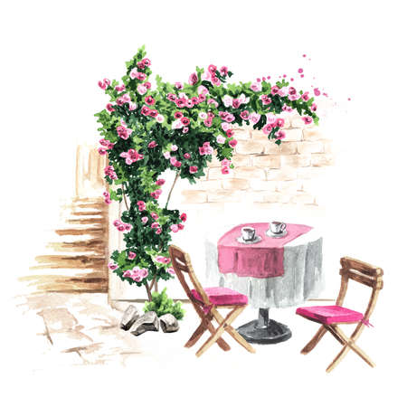 Summer cafe. Table and chairs near the rose bush, Watercolor hand drawn illustration, isolated on white background
