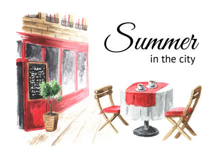 Summer street cafe in the city card, Watercolor hand drawn illustration, isolated on white background Banque d'images