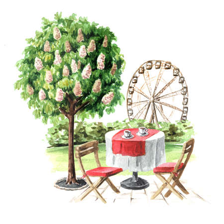 Summer street cafe in the park. Watercolor hand drawn illustration, isolated on white background