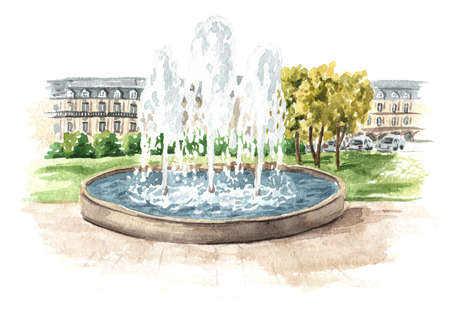 Fountain in the city square or park, Watercolor hand drawn illustration isolated on white background
