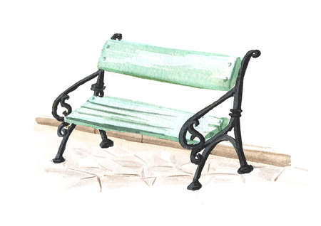 City Bench, Watercolor hand drawn illustration isolated on white background Banque d'images
