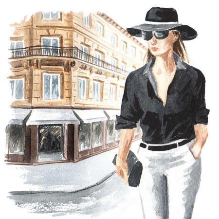 Young woman walks along a city street, Watercolor hand drawn illustration isolated on white background