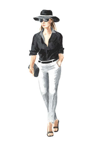 Young modern business woman in sunglasses and hat, Watercolor hand drawn illustration isolated on white background Banque d'images