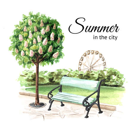 City bench under the chestnut tree in the public park, Watercolor hand drawn illustration, isolated on white background